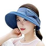 #2: YD hat Women's Wide-brimmed Cap UV Protection Compressible Visor Velcro Design Travel Casual Cap (5 colors optional) (Color : Navy Blue)