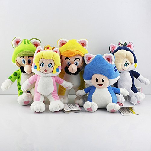 5pcs/lot Super Mario Cat Mario Luigi Toad Princess Peach Rosalina Stuffed Plush Toy (Princess Peach Baby Costume)