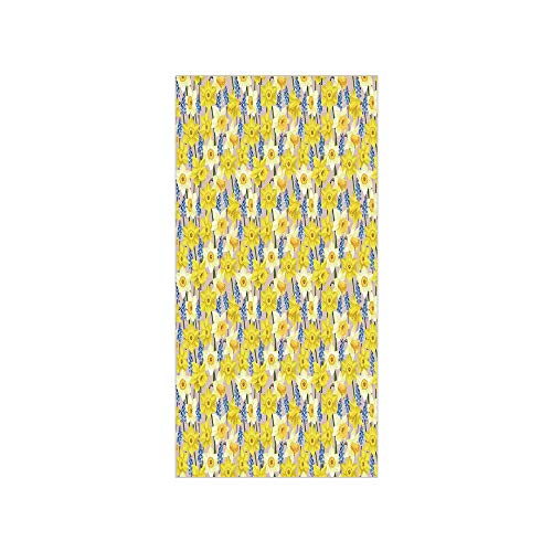 3D Decorative Film Privacy Window Film No Glue,Daffodil Decor,Floral Theme Daffodil and Muscari Blossoming Stems Branches Classic Flourish Artwork,Yellow Blue,for Home&Office