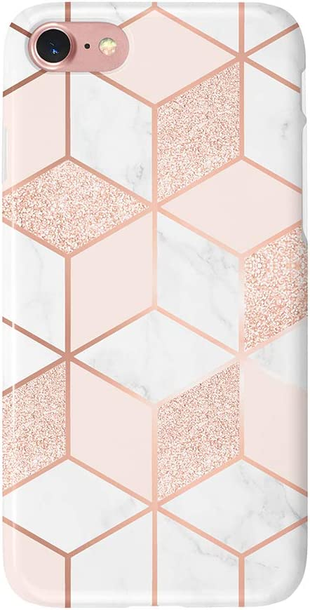 """uCOLOR Case Compatible with iPhone 6S 6 iPhone 8/7 SE 2nd (2020) Cute Glossy Protective Case Sparkle Rose Gold Pink White Marble Slim Soft TPU Silicon Shockproof Cover Compatible iPhone 6s/6/7/8(4.7"""")"""