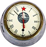 Global Art World Russian Old Cabin Clock Vintage Ussr Boat Ship Submarine Navy With Key HB 053