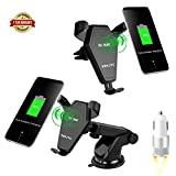 Qi Wireless Car Mount Charger,SSKJTC Gravity Linkage Fast Charging for iPhone X, 8/8 Plus, Samsung Galaxy S8, S7,S6/S7 Edge, Note 8 5 & Qi Enabled Devices