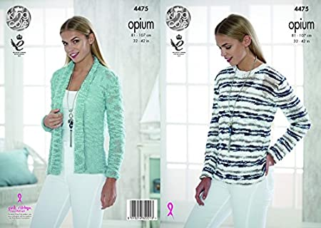 71689b554 Image Unavailable. Image not available for. Colour  King Cole Ladies  Cardigan   Sweater Opium Knitting Pattern 4475