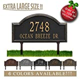 Personalized Cast Metal Address plaque - LAWN MOUNTED Providence Arch (Large Option, 22.5'' wide) . Display your address and street name. Comes with two lawn stakes