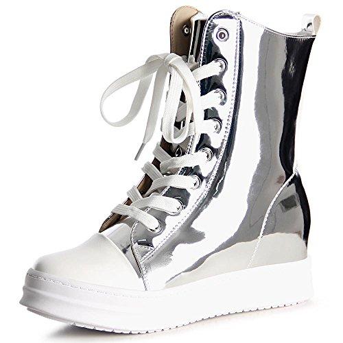 topschuhe24 1037 Damen Sneaker Turnschuhe Hochschaft Hidden Wedges Silber