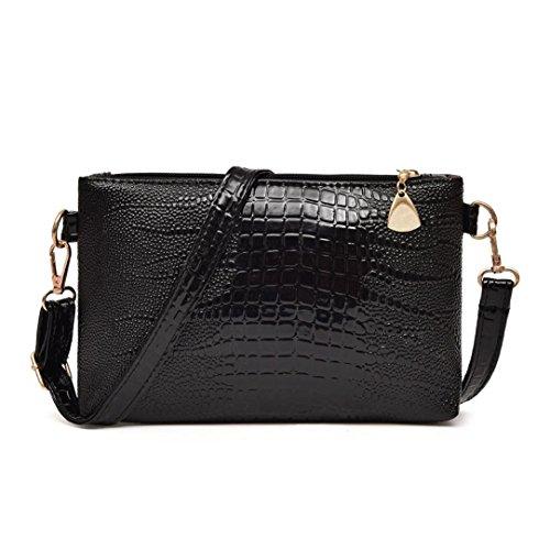 Handbag Pattern Tote Crocodile (Pocciol Women Love Bags, Womens Hot Design Crocodile Pattern Handbags Small Tote Purse Shoulder Bag (Black))