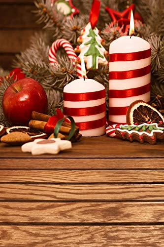 Leyiyi 6.5x10ft Photography Background Merry Christmas Backdrop Happy New Year Xmas Tree Gingerbread Pine Branch Needle Candles Apple Lemon Candy Cane Lay Flat Floor Photo Portrait Vinyl Studio Prop