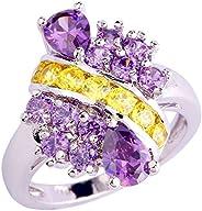 Veunora Silver Plated Chic Garnet Amethyst Ring