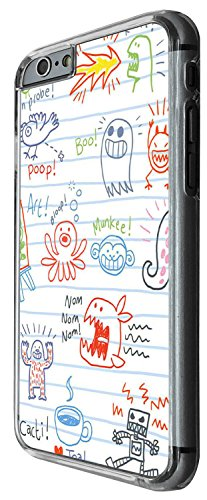 1386 - Cool Fun Trendy cute kwaii sketch illustration monster scary alien funny school art cartoon Design iphone 6 6S 4.7'' Coque Fashion Trend Case Coque Protection Cover plastique et métal - Clear