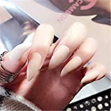 BloomingBoom 24 Pcs 12 Size Stiletto Pointed False Nail Matte Full Cover Fake Nail Press on Faux Ongle Salon Pre Design Women Claw Mountain Peak Mist Creamy White Pink