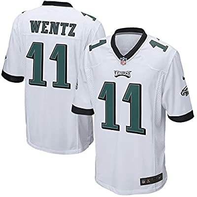 #11 Wentz Men's NFL Lighter College Game Jerseys Sports & Fitness Recycled Polyester Philadelphia American Football Carson Male Team Uniform White/Green/Black,Size M/L/XL/XXL/XXXL