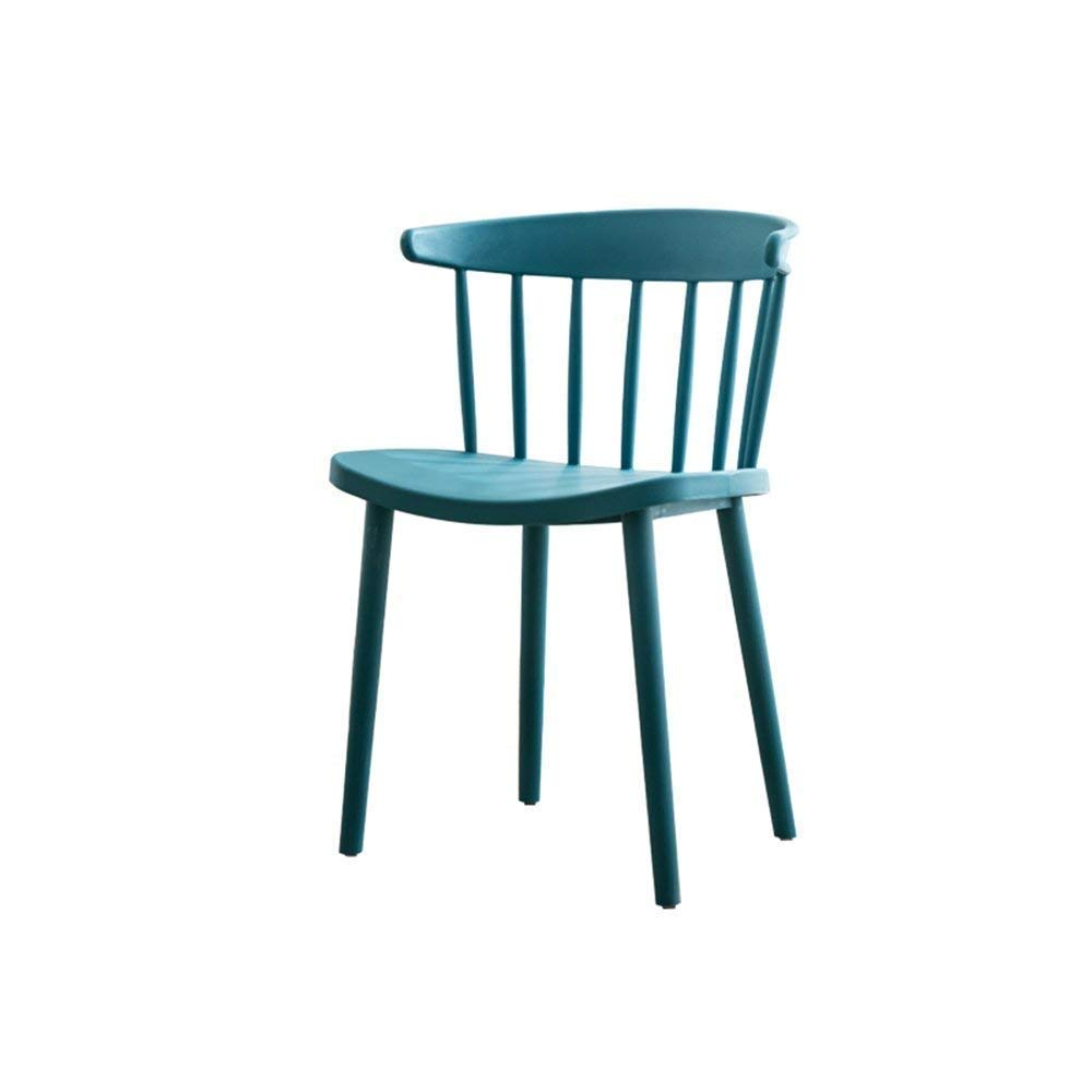 Dark bluee BRNEBN Chair-European-Style Modern Chair Simple Plastic Leisure Chair Home to Discuss Back Dining Chair Home Convenient (color   Dark Coffee color)