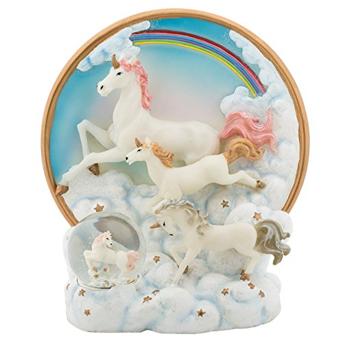 Water Globe Mm 45 (Rainbow Unicorns 6 inch Plate and Miniature 45MM Water Globe Figure Set of 2)
