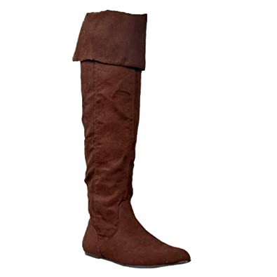65798f0dc273 Qupid PROUD-09 Cuff Over The Knee Thigh High or Knee High Slouchy Flat Boot
