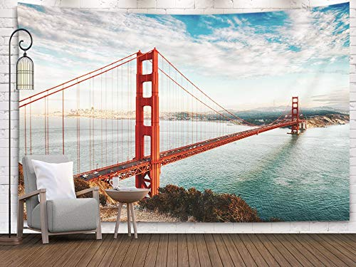 Anucky Tapestry Wall Hanging, Tapestries Polyester Fabric for Home Decoration, Famous Golden Gate San Francisco Dorm Décor and Bedroom 60x50 inch Huge - Outdoor Black Hill Gate Hanging
