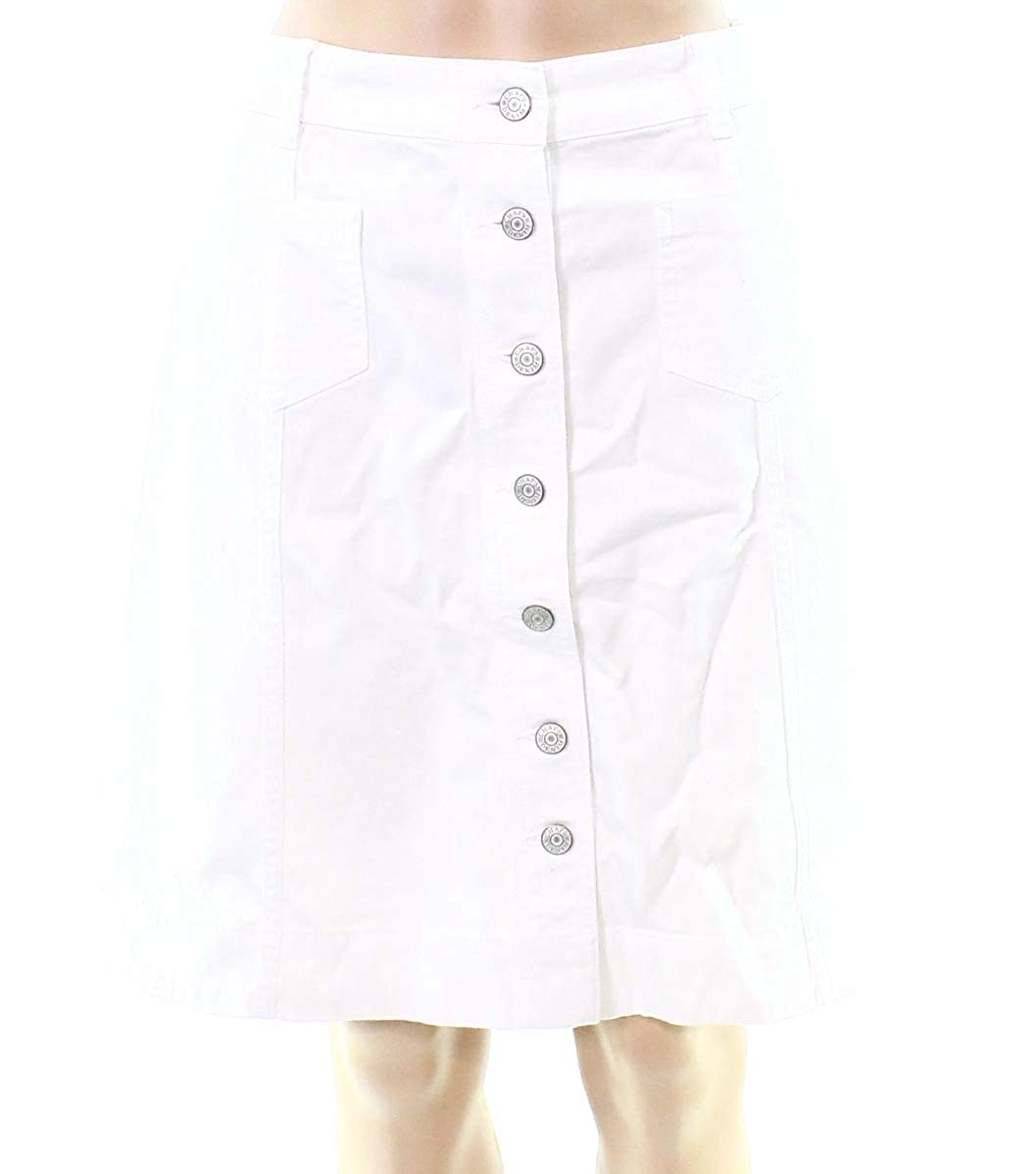 2d5426ddf8 Chaps Women's Button-Front Denim Skirt White 6 at Amazon Women's Clothing  store: