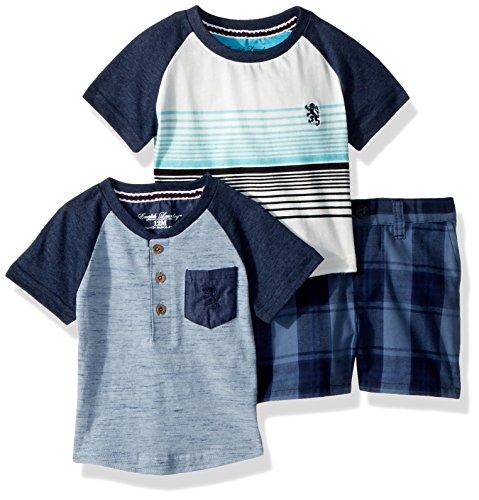 English Laundry Baby Boys Sleeve Henley, Raglan Tee and Plaid Short, Multi Plaid, 24M