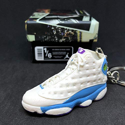 Air Jordan XIII 13 Retro CP3 White Blue PE OG Sneakers Shoes 3D Keychain 1:6 Figure + Shoe Box (Air Jordan Dirty Bred)
