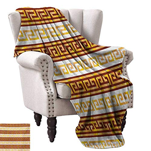 Greek Afghan Throw Blanket - WinfreyDecor Toga Party Home Throw Blanket Ancient Greek Cultural Tribal Geometric Meanders Figure Ornaments Design Ultra Soft and Warm Hypoallergenic 60