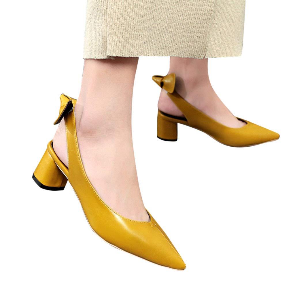 Women Sandals, ❤️ FAPIZI Pointed Toe Slingback Shoes Mid Heels Party Wedding Prom Dress Pumps Court Shoes Sandals Yellow by FAPIZI Women Shoes (Image #3)