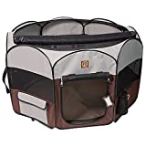 One for Pets Fabric Portable Pet Indoor/Outdoor Pen, X-large/55″ x 55″ x 28″, Grey/Brown For Sale