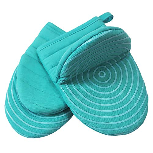 (Heat Resistant Cotton Quilted Hot Mini Oven Mitts Kitchen set with Silicone Printing Non-slip Grip, Puppet Small Oven Gloves set of 2 for BBQ Cooking Baking, Grilling, Machine Washable Women Men Aqua)