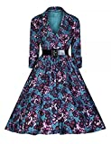 Vintage Dress Womens 1920s Stylish Vintage Retro Swing Dress with Belt