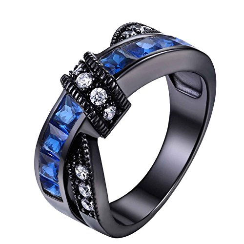 Blue Crossover (Black Stainless Steel Princess Blue Cubic Zirconia Cross Over Women Anniversary Ring sz 5-10)