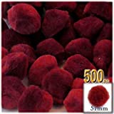 The Crafts Outlet 500-Piece Multi purpose Pom Poms, Acrylic, 51mm/about 2.0-inch, round, Dark Red