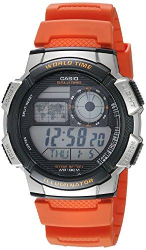 Casio Men's '10-Year Battery' Quartz Resin Casual Watch, Color:Orange (Model: AE-1000W-4BVCF)
