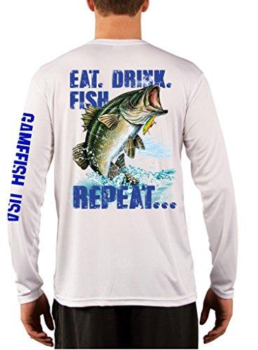 UPF 50 Long Sleeve Performance Fishing Shirt Eat Drink Fish Repeat Bass X-Large White ()