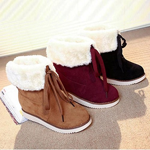 up Ankle Boots Warm Boots Boots Outdoor Women's Lace KaiCran Shoes Plush Winter Red Winter Snow ACw5Bfq