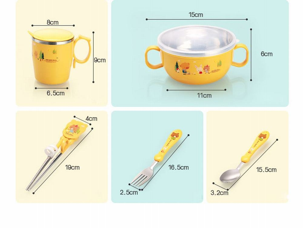 MKKM Plastic Stainless Steel Double Insulation Children Bowl Spoon Fork Training Chopsticks Baby Cutlery Set,Yellow