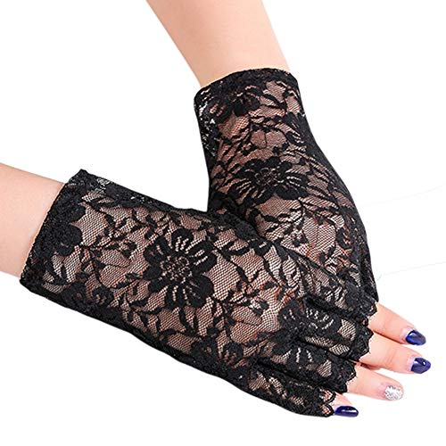 Orcle Women Lace Half Finger Gloves Wrist Length Floral Costume Gloves for Driving Wedding Prom Black