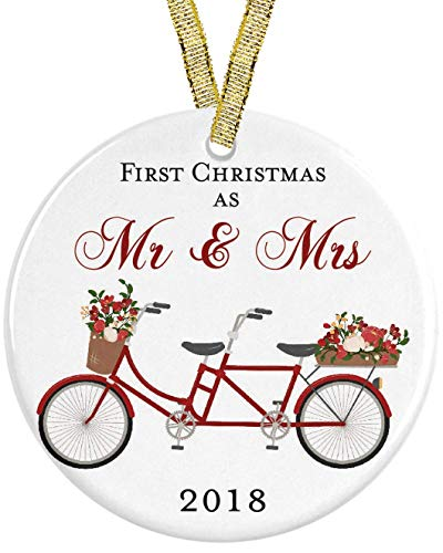 Our First Christmas as Mr and Mrs Red Floral Bicycle 2018 Ceramic Round Ornament, Engagement 3