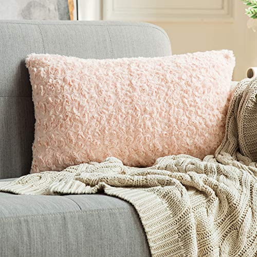 MIULEE Decorative Throw Pillow Covers Luxury Faux Fuzzy Fur Soft Cushion Pillow Case Decor Peach Pink Cases for Couch Sofa Bedroom Car 12 x 20 Inch 30 x 50 cm (Decorative Pillows Peach)