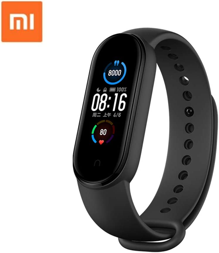 "Xiaomi Mi Band 5 1.1 "" 4 Color Touch AMOLED Screen Magnetic Charge Smart Band Bracelet 24h Heart Rate Sleep REM Nap Fitness Tracker Swim Sport Monitor 5ATM Waterproof Miband 5 Standard Version(Black)"