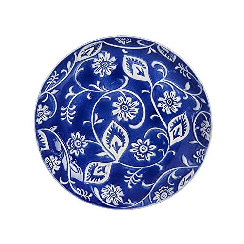 - Evergreen Garden Embossed Blue and White Floral Ceramic Bird Bath with Metal Stand