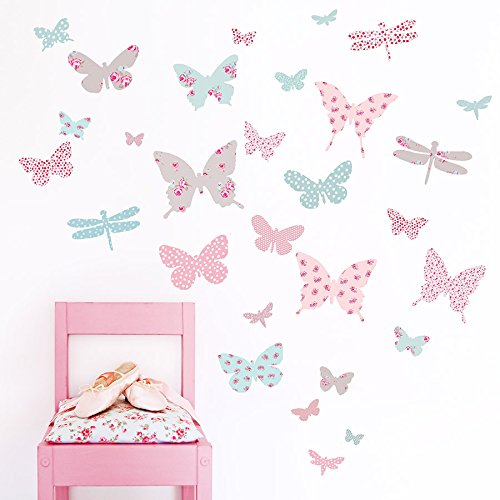 Koko Kids Vintage Floral Butterfly Wall Stickers ~ For baby nursery and girl's rooms ~ Made of fabric, not vinyl, free from BPA & phthalates (Baby Fabric Stickers)