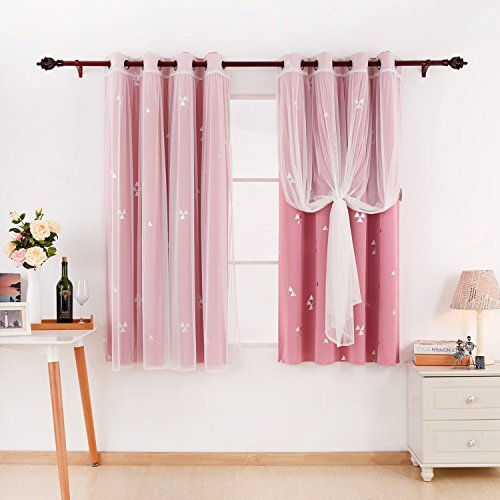 Deconovo Mix And Match Curtain Set 2-Piece Triangle Printed Blackout Curtains Pair Pink and 2-Piece White Tulle Lace Sheer Curtains for Girls Room with Grommet Top, 4 Curtain Panel, 52W x 63L Inch