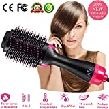 Hair Dryer Brush One Step 4-in-1 Hot Air Brush Hair Curler Hair Straightener Curling Ionic Hair Brush Blow Dryer Ionic Salon Hair Tool for All Hairstyle (Rosered)