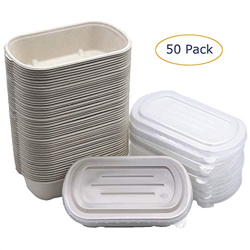 Brightalk [50 Pack] 24oz Eco-Friendly Bowls with Lids - Recyclable Paper Bowls To Go - Portable Serving Bowl Set to Pack Foods ()