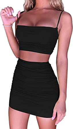 Amazon Com Beagimeg Women S Ruched Cami Crop Top Bodycon Skirt 2 Piece Outfits Dress Clothing