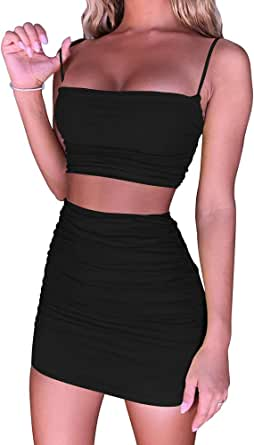 BEAGIMEG Women's Ruched Cami Crop Top Bodycon Skirt 2 Piece Outfits Dress
