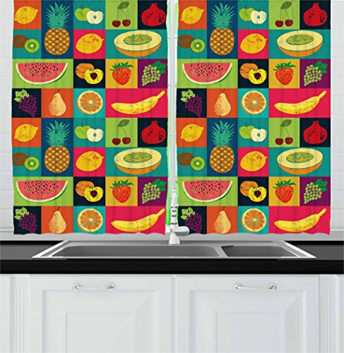 Retro Kitchen Curtains Pop Art Style Fruits Vintage Set Window Drapes 2 Panel Set