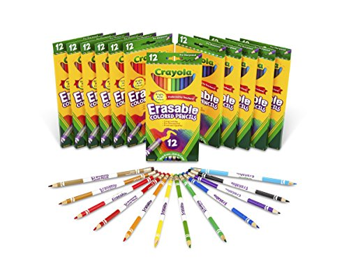 크래욜라 Crayola Erasable Colored Pencils, 12 Packs of 12-Count Colored Pencils, Art Tools in Vibrant Colors,