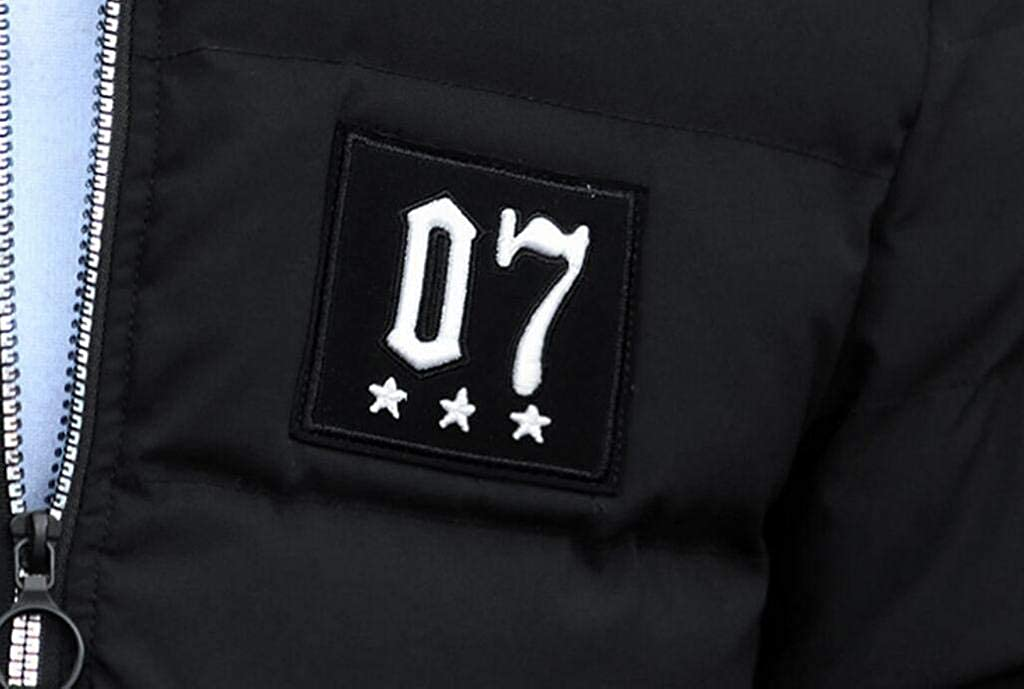 Fubotevic Mens Winter Thicken with Velvet Warm Vogue Full-Zip Detachable Hood Puffer Jacket