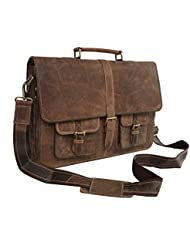 Kks 16 Inch Leather Laptop Messenger Briefcase Bags For Men And Women