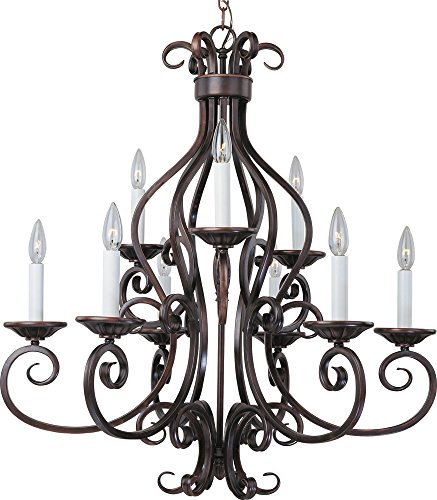 Maxim 12216OI Manor 9-Light Chandelier, Oil Rubbed Bronze Finish, Glass, CA Incandescent Incandescent Bulb , 60W Max., Wet Safety Rating, Standard Dimmable, Glass Shade Material, 672 Rated Lumens