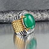 Mens Stainless Steel Fashion Green Agate Stone Crystal Noble Ring Size 7 8 9 10 (10)